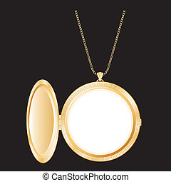 Vintage Gold Locket, Necklace Chain