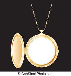 Vintage Gold Locket, Necklace Chain - Vintage gold round ...