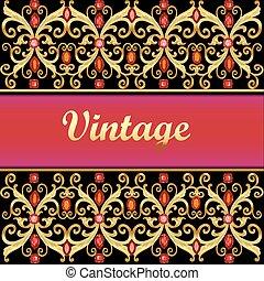 Vintage golden background, jewelry red gems gold frame with filigree border on black