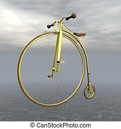 Vintage golden bicycle - 3D render