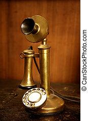 Vintage golden brass spanish old telephone