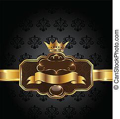 Vintage golden emblem on black floral background