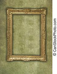 Vintage golden frame in faded grunge wallpaper