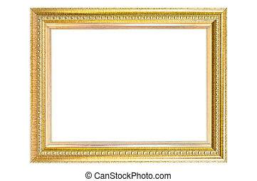 Vintage golden frame isolated.