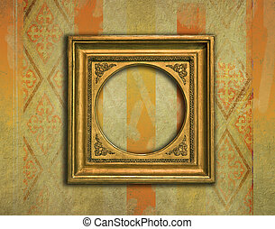 Vintage golden frame on grunge background