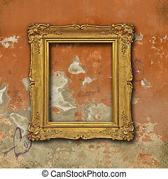 Vintage golden frame on grunge red plaster wall - Golden...