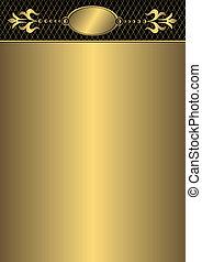 Vintage golden frame (vector) - Vintage golden frame with...