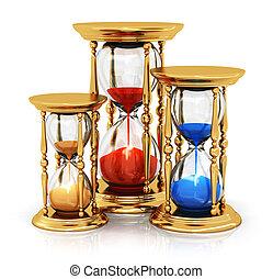 Vintage golden hourglasses