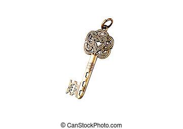 Vintage golden key on a white background