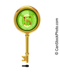 Vintage golden key with a dollar sign.
