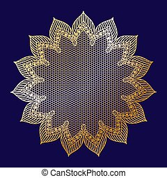 Vintage golden lacy frame on blue background, doily.