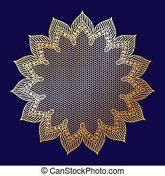 Vintage golden lacy frame on blue background, doily.