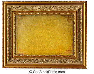 Vintage golden picture frame with empty parchment