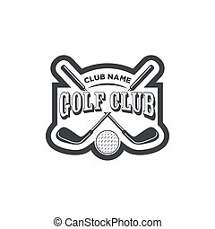 Vintage golf club logos, labels and emblems