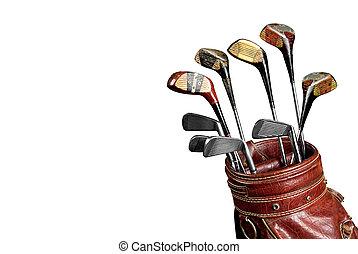 Vintage Golf clubs - Vintage worn Golf clubs in an old bag...
