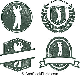 Vintage Golf Logos - Distressed golf emblems with blank...