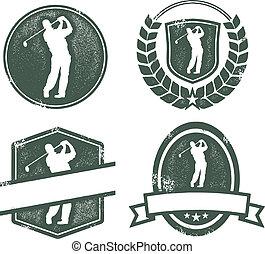 Vintage Golf Logos - Distressed golf emblems with blank...