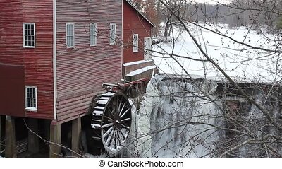 Vintage grain mill - A vintage grain mill on a cold Winter...