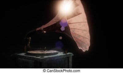 Vintage gramophone in dark with frairs. retro technology.