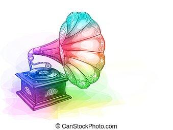Vintage Gramophone in iridescen colours. Vector illustration.