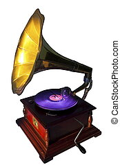 Vintage gramophone isolated on white. Clipping path included...