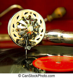 Vintage gramophone, old record player