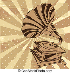 gramophone - vintage gramophone over beige background. ...