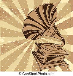 gramophone - vintage gramophone over beige background....