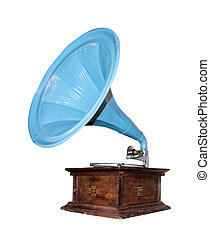 Vintage gramophone - Vintage musical gramophone isolated ...