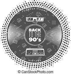 Vintage Gramophone Vinyl Record Template