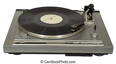 Vintage gramophone with a gramophone record.