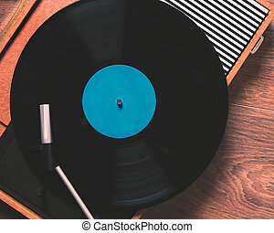 Vintage Gramophone with a vinyl record close up