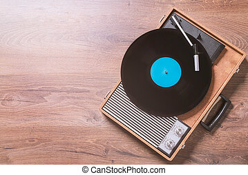 Vintage Gramophone with a vinyl record