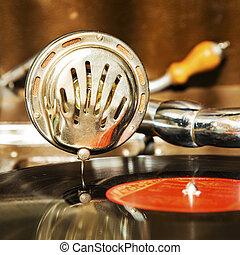 Vintage gramphone playing music