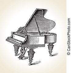 Vintage Grand Piano - Vector retro Vintage Grand Piano eps