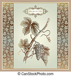 Vintage grape elements for wine label, menu, print material