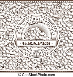 Vintage Grapes Label On Seamless Pattern