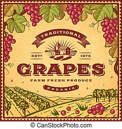 Vintage grapes label with landscape in woodcut style. ...