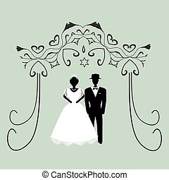 Vintage graphic Chuppah. Religious Jewish wedding canopy...
