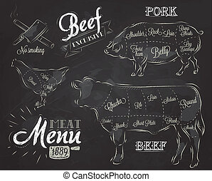 Vintage graphic element for menu - Chalk Illustration of a ...