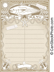 Vintage Graphic Page for Fish Menu