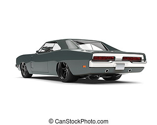 Vintage gray American muscle car - back view