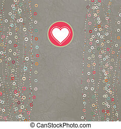 Vintage gray card with hearts. EPS 8