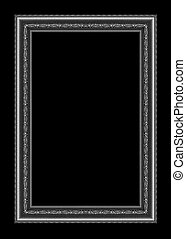 vintage gray frame isolated on black background and clipping pat