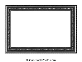 vintage gray frame isolated on white background and clipping pat