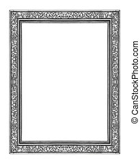 vintage gray frame isolated on white background, with clipping p
