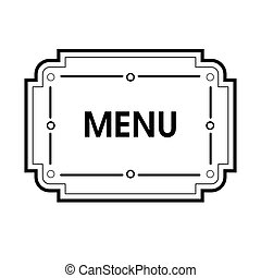 Vintage grayscale frame in a lineart style for menu