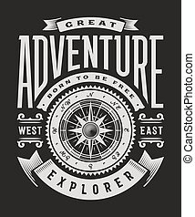 Vintage Great Adventure Typography On Black Background