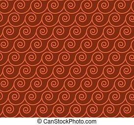 Vintage greek style simple wavy seamless pattern. Brown...