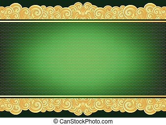 Vintage green and gold card
